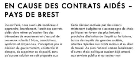 APPEL DU COLLECTIF DES ASSOCIATIONS DU PAYS DE BREST